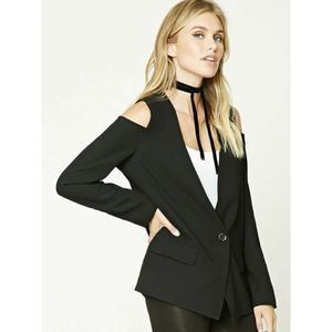 Forever 21 Cutout Sleeve One Button Blazer Black M